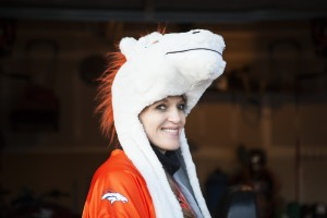 Stephanie before Bronco game